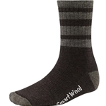 smartwool men's striped hike medium crew socks chestnut/taupe