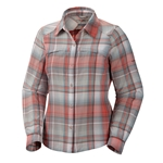 columbia women's silver ridge plaid shirt red hibiscus