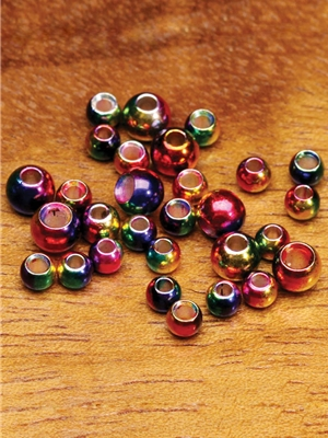 multi-hued rainbow brass beads
