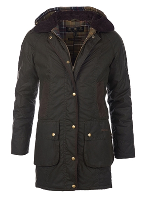 barbour women's bower wax jacket olive