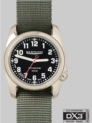 Bertucci A-2T Highpolish black olive drab band 12042 Bertucci Field Watches