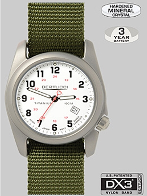 Bertucci A-2T watch white with olive band 12121 Bertucci Field Watches