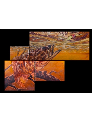Deyoung 4 panel smallmouth bass canvas print Carvings  and  Art