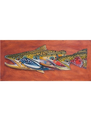 Deyoung abstract brook trout 3 canvas print Carvings  and  Art