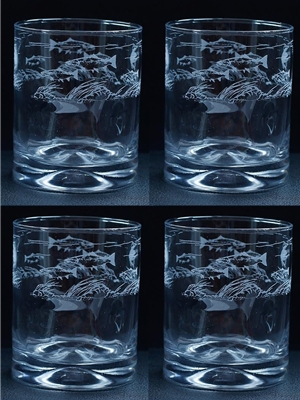 trout stream etched dimpled hi-ball glasses Coffee Mugs, Dinnerware  and  Barware