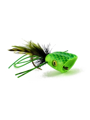 Double Barrel Popper- Green/Chartreuse Bass- Poppers, Petes  and  Frogs