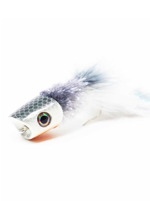 Howitzer Articulated Baitfish Popper- White Largemouth Bass Flies - Surface  and  Divers