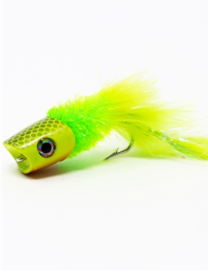 Howitzer Articulated Baitfish Popper- Yellow/Chartreuse Largemouth Bass Flies - Surface  and  Divers