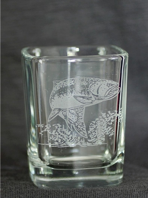 trout etched shot glass Coffee Mugs, Dinnerware  and  Barware