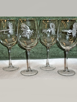dry fly etched white wine glasses