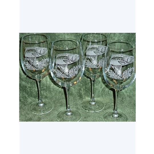 rainbow trout etched white wine glasses